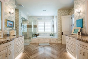Mont Royal - South Jordan Custom Home Interior bathroom with bathing tub and shower