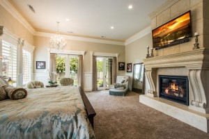 Mont Royal - South Jordan Custom Home Interior bedroom with fireplace