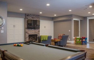 Northbridge - St. George Interior Basement with billiard table and bar