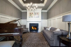Parade of Homes - Draper Utah Custom Home Piano Room with Fireplace