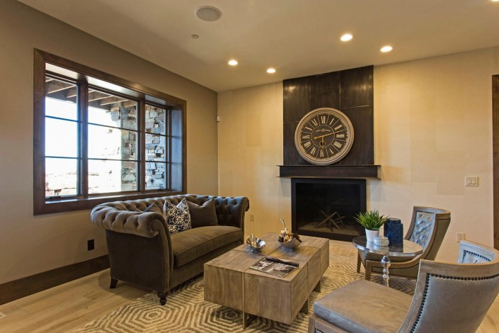 Promontory Rambler - Park City Custom Home Interior Sitting Room with Fireplace