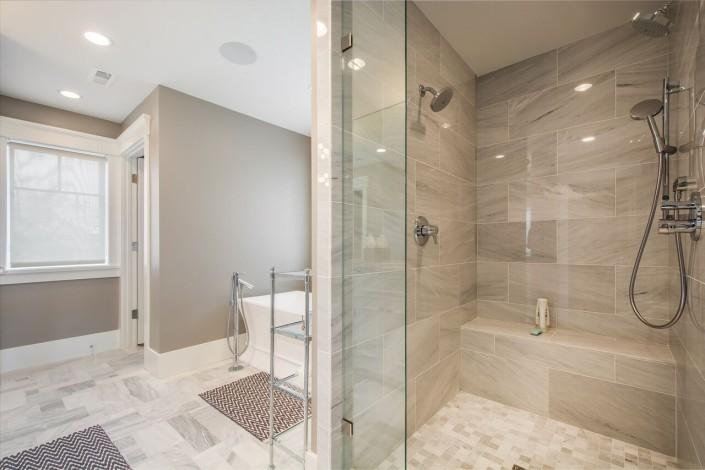 The Avenues - Salt Lake Custom Homes Interior Bathroom with walkin shower and bathing tub