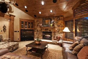 Oakley Cabin Stone Fireplace